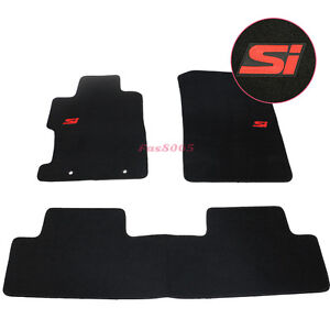 For 06 11 Honda Civic 2dr 4dr Floor Mats Carpet Front Rear W Red Si Embrodery