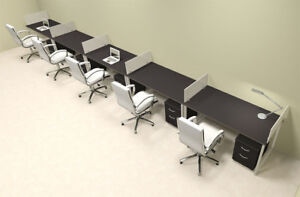 Five Person Modern Acrylic Divider Office Workstation al opn sp72
