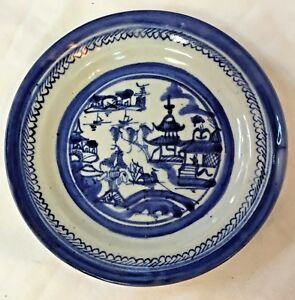 Antique 1840 1880 Chinese Export Blue White Canton Plate