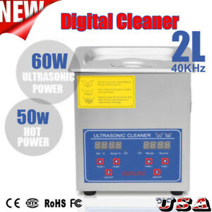 2l Ultrasonic Cleaner Liter Stainless Steel Industry Heated Clean Glasses Us