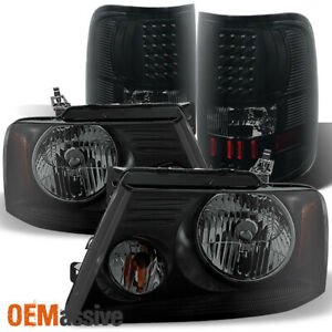 Fit 2004 2008 Ford F150 F 150 Black Smoked Headlights Led Tail Lights