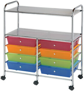 Double Storage Cart W 8 Drawers 31 74 x35 x14 75 Multicolor Pk 1