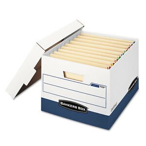 Bankers Box Stor file Max Lock Storage Box Letter legal White blue 12 carton