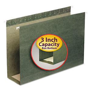 Smead Three Inch Capacity Box Bottom Hanging File Folders Legal Green 25 box