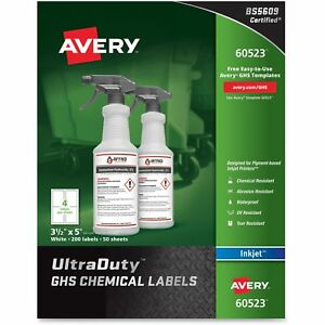 Avery Chemical Container Labels 3 1 2 x5 50shts 200 bx We 60523