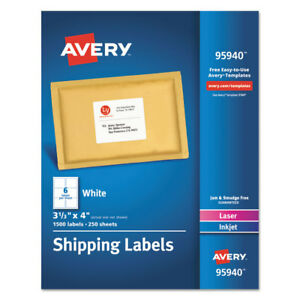 Avery White Shipping Labels Laser inkjet 3 1 3 X 4 White 1500 box 95940