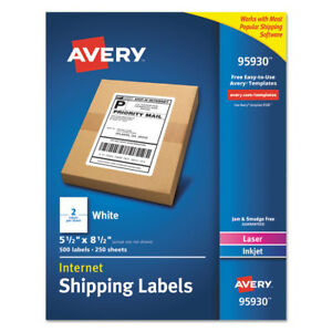 Avery White Shipping Labels Laser inkjet 5 1 2 X 8 1 2 White 500 box 95930