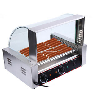 Commercial 24 Hot Dog 9 Roller Grill Cooker Machine 1260w Party W Cover Ce