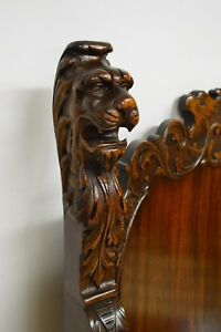Antique 19th Century Carved Mahogany Throne Arm Chair