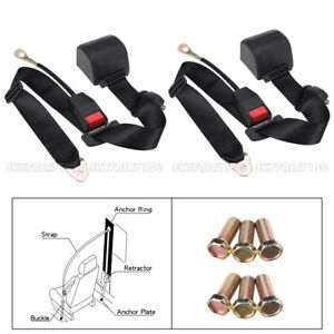 2x Car Truck Seat Belt Lap 3 Point Safety Adjustable Retractable Auto Universal
