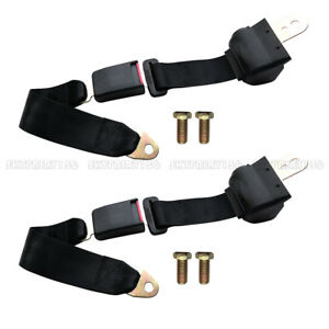 2x Universal Car Truck Seat Belt 2 Point Retractable Safety Belt Strap Buckle