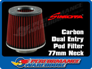 Simota Racing Dual Entry Pod Air Filter Carbon Top Red Element 77mm Neck