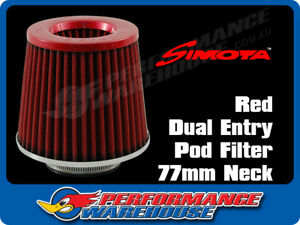 Simota Racing Dual Entry Pod Air Filter Red Top Red Element 77mm Neck