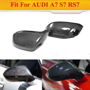 For Audi A7 S7 Rs7 Mirror Covers Caps Carbon Fiber 11 17 With Side Lane Assist