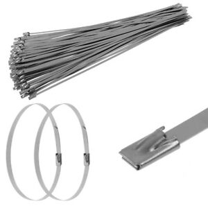 100 X Stainless Steel Marine Grade Self Locking Cable Ties Zip Wraps Easy To Use