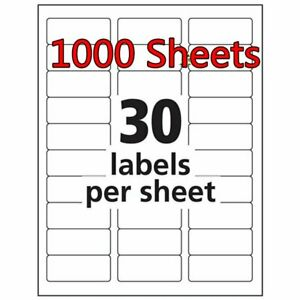 1 X 2 5 8 30000 Address Blank Labels Laser Ink Jet Mailing Adhesive 2 625 X 1