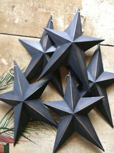 Set Of 2 Distressed Whimsical Black Barn Stars 8 Rustic Country Decor