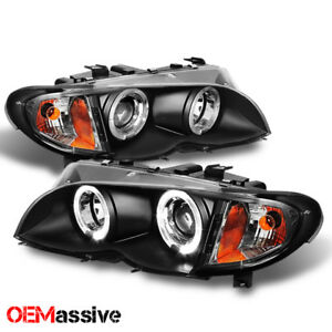 For 02 05 Bmw E46 3 series 4dr Black Halo Led Projector Headlights build corner
