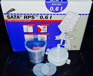 Sata Jet Hvlp Rp Spray Paint Gun Rps Cups 0 6liter 20oz 2cups Waterborne