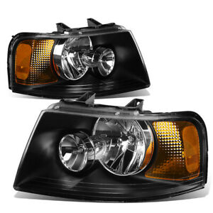 Fit 2003 2006 Ford Expedition Black Housing Amber Side Bumper Headlight Lamp Set
