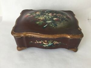 Antique Scalloped Wood Hinged Trinket Box Hand Painted Flowers Italy Bd1