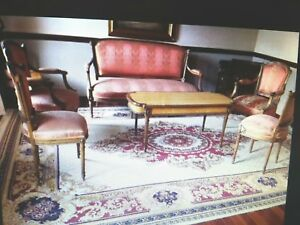 Louis Xvi Ornate Wood C 1900 S Upholstered Sofa 2 Arm Chairs 2 Side Chairs