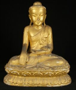 Early 20th Century Old Wooden Buddha Statue From Burma Antique Buddha Statues