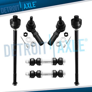6pc Inner Outer Tie Rod Ends Sway Bar Links 2000 05 Cadillac Buick Pontiac