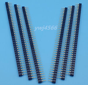 100pcs 40pin 2 54mm Single Row Round Female Pin Header Socket Gold Plated