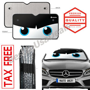 Angry Eyes Car Truck Suv Front Windshield Sun Shade Uv Protector Window Black