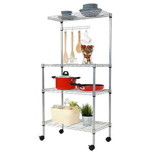 3 tire Microwave Oven Rack Storage Cart Baker Stand Kitchen Cart Utility Shelf