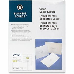 Business Source Shipping Labels Laser Permanent 2 x4 1 4 500 pk Clear 26125
