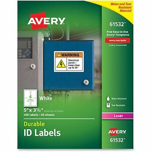Avery Durable Id Labels 200 pk 5bx ct White 61532