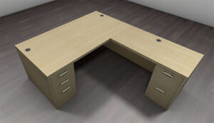 4pc L Shape Modern Executive Office Desk Set ch amb l27