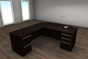 4pc L Shape Modern Executive Office Desk Set ch ver l4
