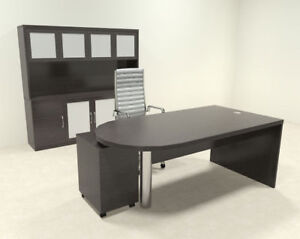 4pc Modern Contemporary Executive Office Desk Set ro abd d27