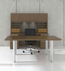 7pc Rectangular Modern Executive Office Desk Set ch ver d13