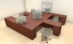 Four Persons Modern Executive Office Workstation Desk Set ch amb f6