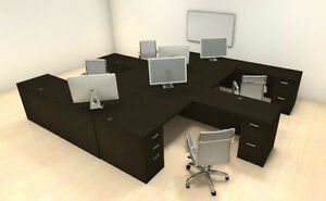 Four Persons Modern Executive Office Workstation Desk Set ch amb f8
