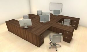 Four Persons Modern Executive Office Workstation Desk Set ch amb f9