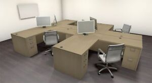 Four Persons Modern Executive Office Workstation Desk Set ch amb s10