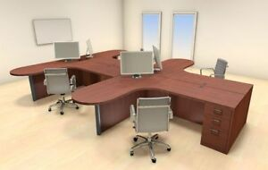 Four Persons Modern Executive Office Workstation Desk Set ch amb s36