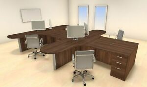 Four Persons Modern Executive Office Workstation Desk Set ch amb s39