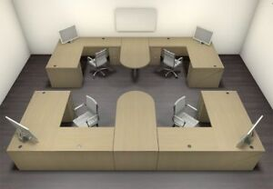 Four Persons Modern Executive Office Workstation Desk Set ch amb s65