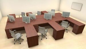 Six Persons Modern Executive Office Workstation Desk Set ch amb f11