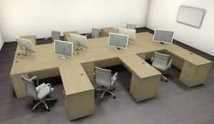 Six Persons Modern Executive Office Workstation Desk Set ch amb f15