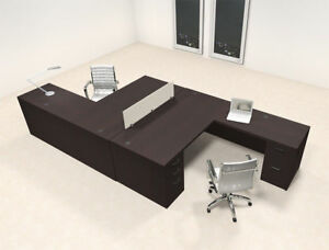 Two Persons L Shaped Office Divider Workstation Desk Set ch amb fp2