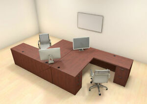 Two Persons Modern Executive Office Workstation Desk Set ch amb f1