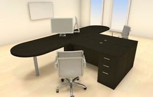 Two Persons Modern Executive Office Workstation Desk Set ch amb s18