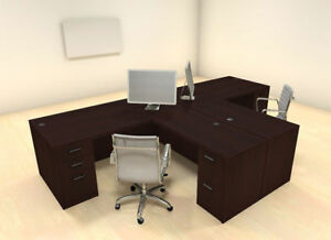Two Persons Modern Executive Office Workstation Desk Set ch amb s2